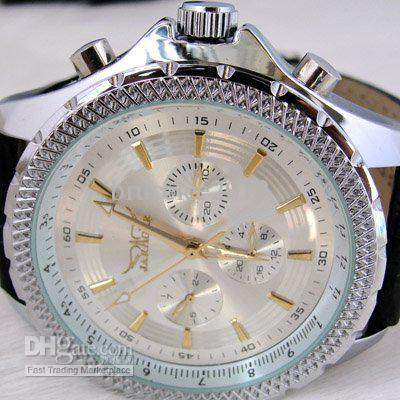 jaragar cadran blanc hommes en cuir montres de plongée en acier inoxydable luxe automatique mécanique mens montres