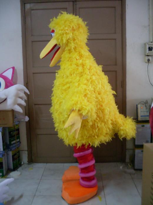 calle de sésamo esponja EVA cabeza y amarillo de plumas de aves grandes trajes de la mascota envío libre por encargo