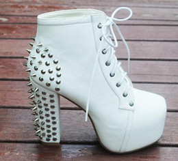 Wholesale European Fashion Lace Up Boots - Size 40 European Fashion White Punky Rivets Boots High Platform Thick High Heel Boots 3 Colors
