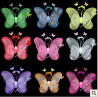 Wholesale Wholesale Green Fairy Wings - HALLOWEEN BUTTERFLY FAIRY Wings Magic Wand Headband Set Kid Angel Classic Costume,christmas gifts