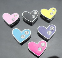 Wholesale Two Heart Rhinestone Charm - 50pcs lot 8mm two rhinestones heart Slide Charms diy accessories Fit For 8mm phone strips keychains