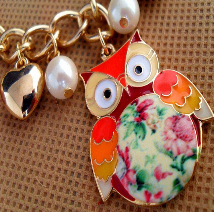 Owl Printing Bracelets Pearl Multi-element Bracelets