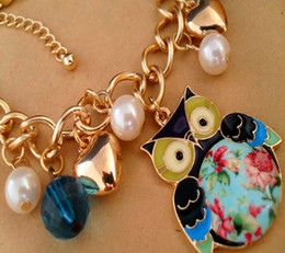 Wholesale Elements Pearl Bracelet - Owl Printing Bracelets Pearl Multi-element Bracelets
