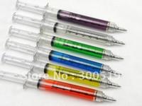 Wholesale Ball Pen Gift Box - OF001 Syringe pen 6 COLORS Ball point pen promotion Gift pen White box packing 100pcs lot Free Shipp