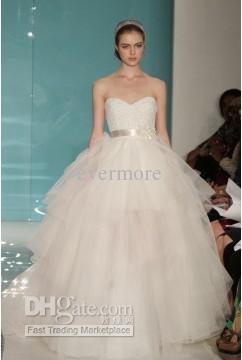 14053d34ca ... 2013 Reem Acra RomaticBeaded Bridal Ball Gown Long Sweetheart Bow Tulle  Beach Wedding Bridal Dresses