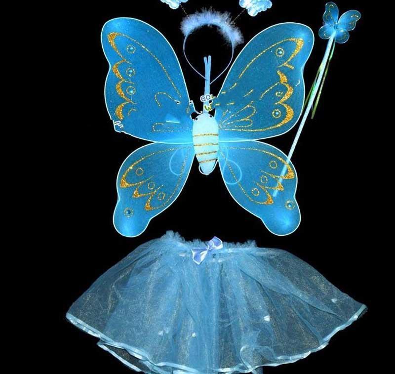 Baguette Magique Ailes de Fée BUTTERFLY, performance Masquerade, Avec une aile et une jupe en diamant