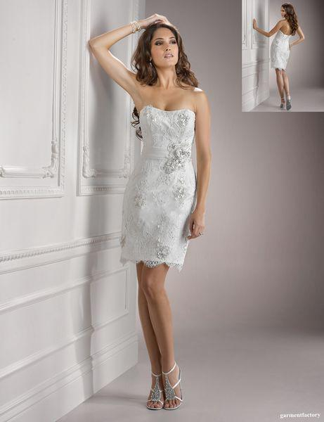 Sexy Short Informal Wedding Dresses Strapless Sheath White Lace ...