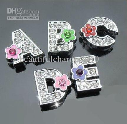 Wholesale 8mm A-Z flower rhinestones slide letters DIY Alphabet charms fit for 8mm leather bracelet phone strips