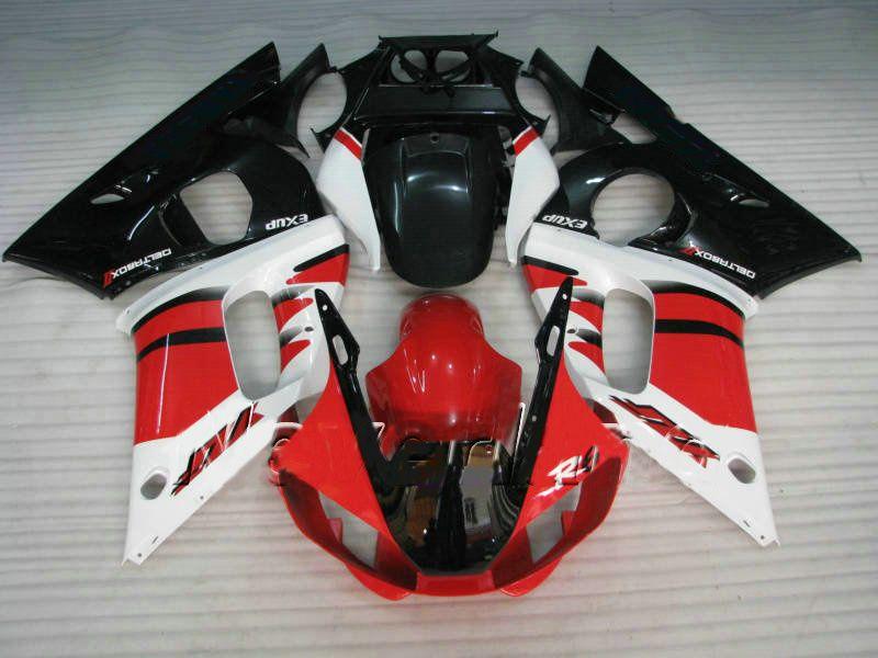 Injeção Branca Vermelha Fairing Moldada para Yamaha YZF R6 Fairings Kit 1998 1999 2000 2001 2002 YZF-R6 98 99 00 01 02