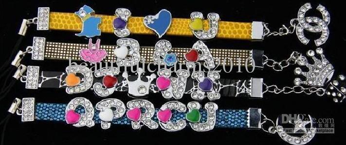 Venta al por mayor 130 unids / lote 8 mm A-Z corazón diapositivas DIY accesorios del alfabeto ajuste para 8 mm pulsera pulsera de cuero