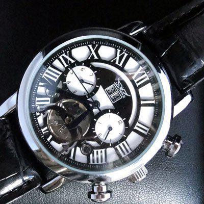 Jaragar lujo automático mecánico tourbillon fecha hombres cuero buceo marca clásica para hombre reloj suizo