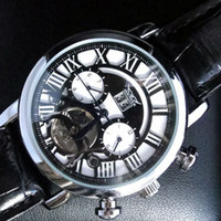 Wholesale watches classic tourbillon online - jaragar luxury automatic mechanical tourbillon date men leather dive classic brand mens swiss watch