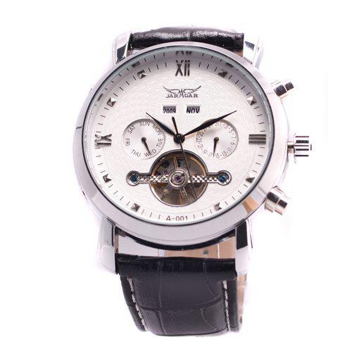 Jaragar hombres de cuero buceo relojes automáticos tourbillon para hombre fecha mecánico día regalo de Navidad
