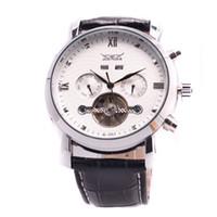 jaragar tourbillon venda por atacado-Homens de couro jaragar dive relógios automáticos turbilhão mens data dia mecânico relógio de pulso de presente de Natal