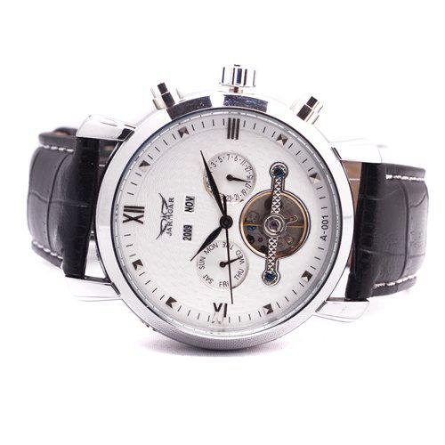 Homens de couro jaragar dive relógios automáticos turbilhão mens data dia mecânico relógio de pulso de presente de Natal
