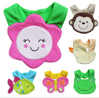 Wholesale Butterfly Baby Bib - Baby bib cartoon babies bibs flower monkey duck fish cake frog butterfly infant saliva towel