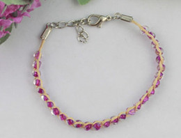 Wholesale Seed Beaded Bracelets - 12PCS Violet glass seed beaded Lucky Raffia Anklet Bracelets #21684