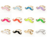 Wholesale Enamel Mustache - New Design Cosplay Enamel Gold Mustache Cocktail Ring Adjustable Size 12pcs lot 5colors mix color