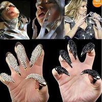 Wholesale Talon Claw Nail Finger Rings - 10pcs lot 2012 Fashion Crystal rhinestone Owl Claw Oval Ring nail Paw Talon Finger Punk H535