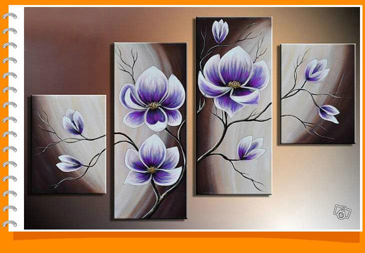 Framed 4 Panels 100% Handmade Purple Flower Oil Painting on Canvas ...