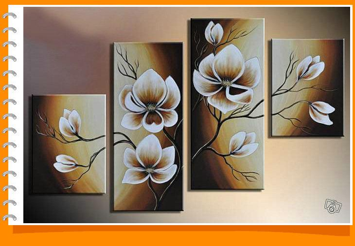 Framed 4 Panels Yellow Flower Tulip Oil Painting on Canvas Wall Art ...