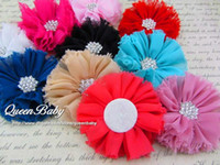 """Wholesale Sewing Center - Vintage 2.5"""" Chiffon Shabby Flower With Sparking Rhinestone Crystal Center hand sewn flowers Newborn Photography Props 240pcs lot QueenBaby"""