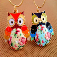 Wholesale Color Owl Necklace - Color Drip Glaze Owl Necklaces Hand-Painted Flower Pendants