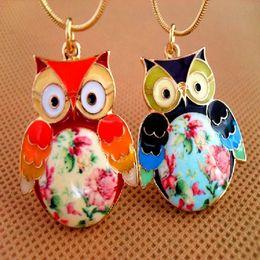 Wholesale Drip Glaze - Color Drip Glaze Owl Necklaces Hand-Painted Flower Pendants