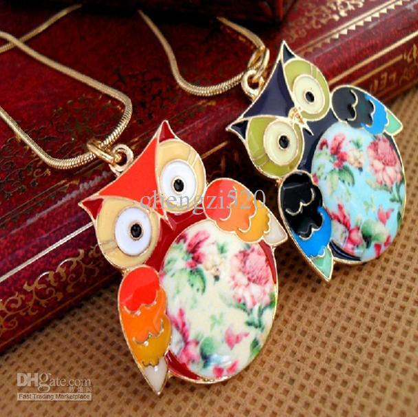 Farbe Drip Glaze Owl Halsketten Handbemalte Blumen Anhänger