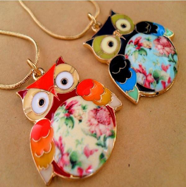 Kleur Drip Glazuur Owl Kettingen Handgeschilderde Bloemhangers