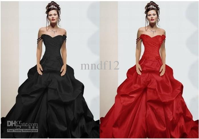 Red Black Wedding Dress Satin Evening Dress A Line Bridesmaid Dress ...