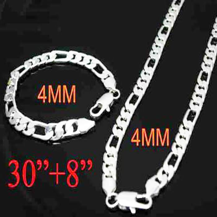 """Hot 925 Silver 4mm Flat Men's Figaro Chains Necklace With Bracelet 30+8"""" Men's Jewelry set"""