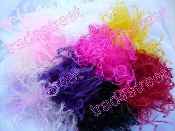 free shipping 50pcs mix color 3'' fashion curl ostrich puff feather bows baby feather hair clips