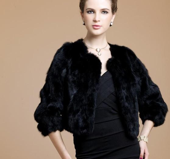 Black Real Patched Rabbit Fur Coat Shawl Wrap S M L Xl Orange Red ...