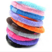 Wholesale Baby Hair Pony Tails - FreeShip 100 Pieces Cute Korea Candy Color Hair rope Hair band Hair Bows Baby Hair circle Xmas Gift