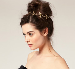 Wholesale Bow Left - Fshion star hair band hair bows gold olive branch leaves ally chain leaf hairbands elastic headband