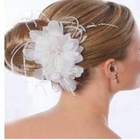 Wholesale Flowers Feathers Headwear - Wholesale! White Feather Beaded Clip Headwear #001