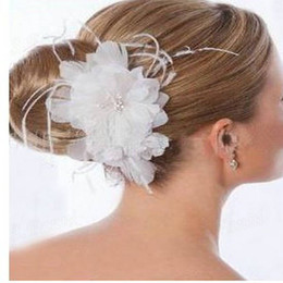 Wholesale Feather Clips - Wholesale! White Feather Beaded Clip Headwear #001