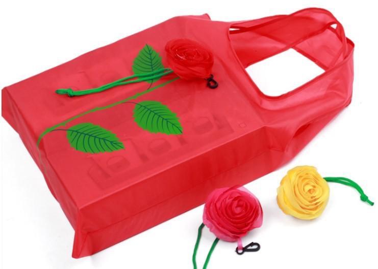 La bolsa de asas reutilizable del hombro de las compras de Eco 50Pcs Rose HG966 lindo libera el envío