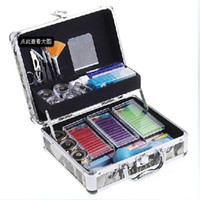 Wholesale Eyelash Extension Kit Case - Professional Korea Two Layer Eyelashes Eyelash Extension Kit with Silver Case Free Shipping