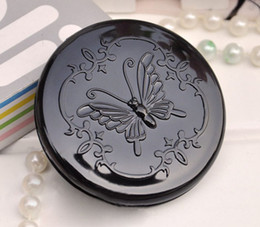Wholesale Butterfly Makeup - Black butterfly Compact Mirror Small Round Plastic Portable pocket Makeup Mirror Cheap Mirrors Free Shipping MD374 FREE SHIPPING