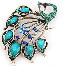 Wholesale Peacock Plates - Wholesale-New Fashion Blue Red Gem Stone Peacock Pin Brooch brooches FY1