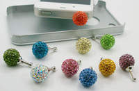 Wholesale Disco Dust Plug - 20pcs* 14mm Crystal disco ball Mobile dust plugs suitable for all 3.5mm holes