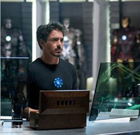 ecualizador de flash al por mayor-(The Avengers) Iron Man LED camiseta sonido activado ecualizador de música intermitente envío gratis