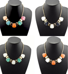 Wholesale Gemstone Statement Necklace - Fashion European Style Gold Plated Metal Gemstone Choker Statement Necklace