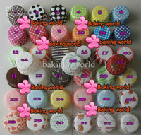 Wholesale Stripe Cupcake Case - 1000pcs Mixed Colorful Round MUFFIN Paper Cake Cup Cake case in Polka Dot and Stripe Cupcake case