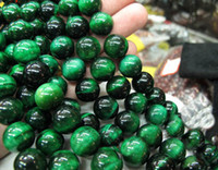 Wholesale Gemstone Tiger Eye - 39pcs Natural green Tiger Eye stone strand beads jewelry gemstone loose beads fit charm bracelets.