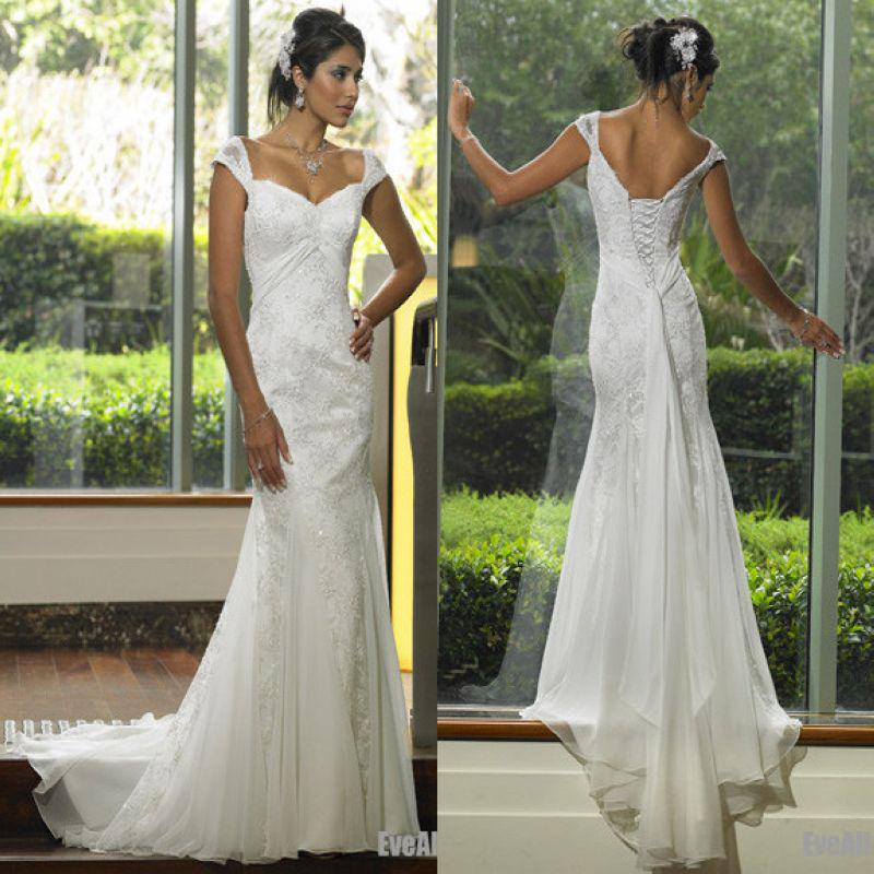Lace with Sweetheart Neckline Mermaid Chiffon Wedding Dresses