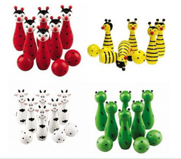 Wholesale Green Bowling Balls - Free Shipping Baby Wooden Animal Style Bowling Ball Baby Educational Toy