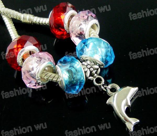 CCB Lovely Dolphin Charm Big Hole Pärlor Hot Sälj / Passform Europeiska Armband Smycken DIY